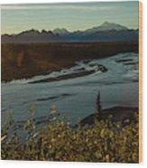 Sunrise On Mnt Denali, Trapper Creek Wood Print