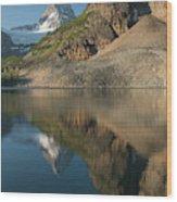 Sunrise On Mount Assiniboine In  Mount Wood Print