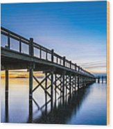 Sunrise Under The Boardwalk Wood Print