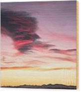 Sunset And Clouds Wood Print