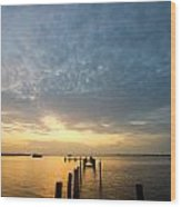 Sunset At A Weathered Pier At Port Charlotte Harbor Near Punta  Wood Print by Fizzy Image