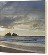 Sunset At Holywell Bay Wood Print