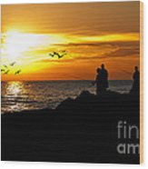 Sunset At South Jetty Wood Print