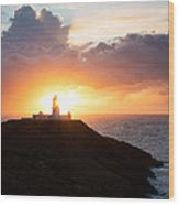Sunset At Strumble Head Lighthouse Wood Print