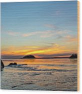 Sunset From North Beach With Deception Wood Print