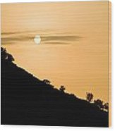 Sunset Golden Color With Tree Wood Print