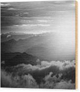 Sunset Himalayas Mountain Nepal Silhouette Wood Print