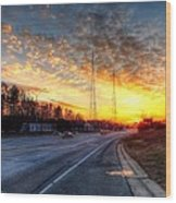 Sunset In Charlotte Wood Print