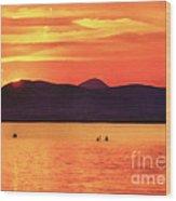 Sunset In The Balaton Lake Wood Print