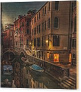 Sunset In Venice Wood Print