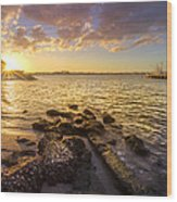 Sunset Light Wood Print by Debra and Dave Vanderlaan