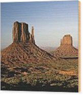 Sunset Light With Mittens And Desert In Monument Valley Arizona  Wood Print