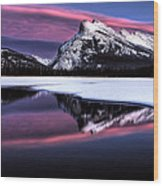 Sunset Mount Rundle Wood Print