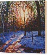 Sunset On Snow Wood Print