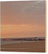 Sunset On The Breakwater Wood Print