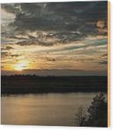 sunset over Aboda Klint lake Wood Print