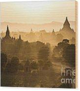 Sunset Over Bagan - Myanmar Wood Print