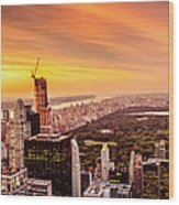 Sunset Over Central Park And The New York City Skyline Wood Print