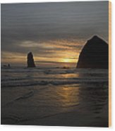Sunset Over Haystack Rock In Cannon Beach Wood Print