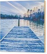 Sunset Over Lake Wylie At A Dock Wood Print
