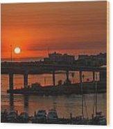 Sunset Over The Bridge Wood Print