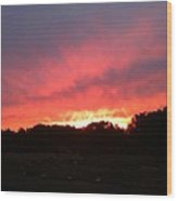 Sunset Over The Mountain Wood Print