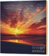 Sunset Puddle Reflections Wood Print