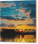 Sunset Railroad Bridge Wood Print