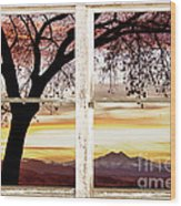 Sunset Tree Silhouette Abstract Picture Window View Wood Print by James BO  Insogna