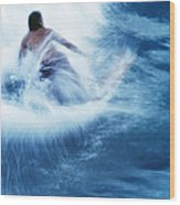 Surfer Carving On Splashing Wave, Interesting Perspective And Blur Wood Print