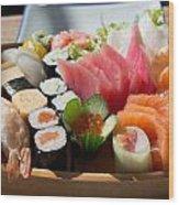Sushi And Sashimi Wood Print