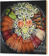 Sushi Party Tray Wood Print by Elena Elisseeva