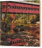 Swift River Covered Bridge Wood Print by Jeff Folger