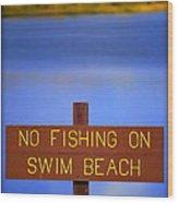 Swim Beach Sign II Wood Print