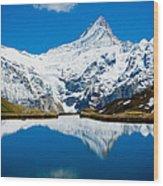 Swiss Alps - Schreckhorn Reflection  Wood Print