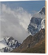 Swiss Alps Shrouded In Clouds Wood Print
