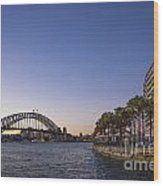 Sydney Harbour In Australia By Night Wood Print
