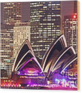 Sydney Skyline At Night With Opera House - Australia Wood Print