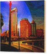 Tampa History In Reflection Wood Print