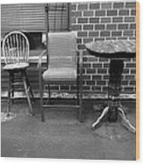 Table And Chairs Wood Print