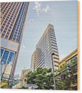 Tall Highrise Buildings In Uptown Charlotte Near Blumenthal Perf Wood Print