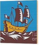 Tall Sailing Ship Retro Woodcut Wood Print