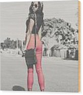 Tall Young Black Woman Modelling Handbag Accessory Wood Print