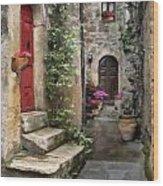 Tarquinia Red Door Impasto Wood Print