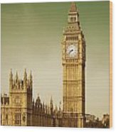 Taxi And Big Ben Wood Print
