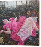 teddy Bears Picnic Wood Print by Shelley Laffal
