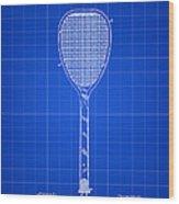 Tennis Racket Patent 1887 - Blue Wood Print