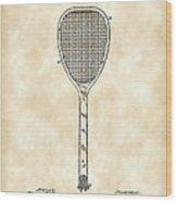 Tennis Racket Patent 1887 - Vintage Wood Print