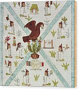Tenochtitlan (mexico City) With Aztec Wood Print