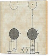 Tesla Electric Transmission Patent 1900 - Vintage Wood Print